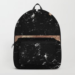 Black Marble with Rose Gold Stripe #1 #shiny #glam #decor #art #society6 Backpack