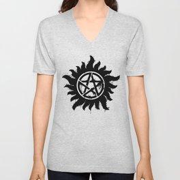 Anti-Possession Symbol Dark (Splatter) Unisex V-Neck