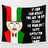chef Wall Tapestries featuring Funny Italian Chef Skinny Food by Auntie Shoe