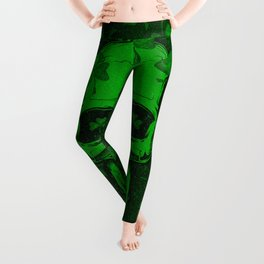 Retro Clover Shamrock Skull Leggings