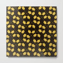 Dainty Yellow Flowers on Heart Shaped Vines Metal Print