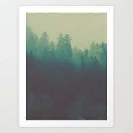 Misty Blue Pine Forest Tall Parallax Trees Silhouette Ombre Forest Foggy Landscape Art Print