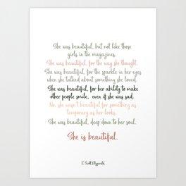 She Was Beautiful By F. Scott Fitzgerald 3 #minimalism #poem Art Print