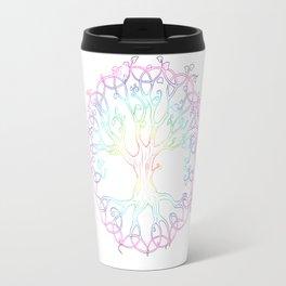 Rainbow Tree of Life - hand designed tattoo style Tree of Life Travel Mug