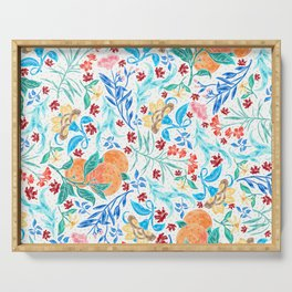 Good Fortune Asian Floral Pattern With Orange Blossoms Serving Tray