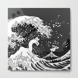 Black and White Psychodelic Kunagawa Surfer Cat Metal Print