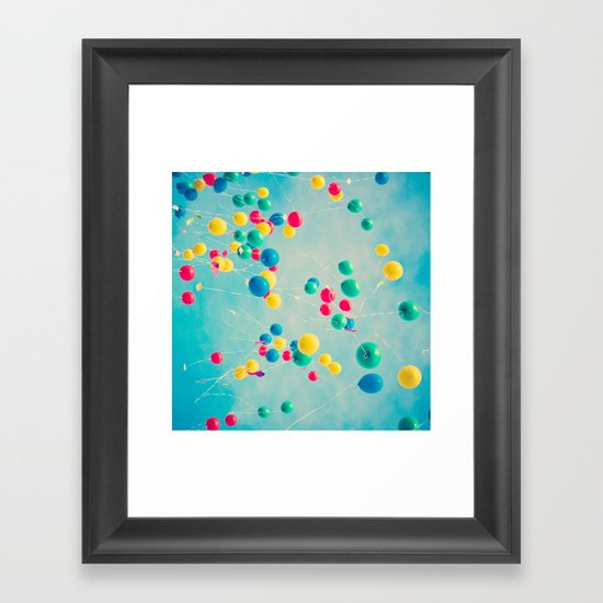 Polka Dots (Colorful happy balloons in flight) Framed Art Print