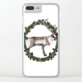 Jolly Holiday Reindeer Clear iPhone Case