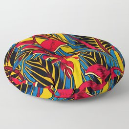 Jungle Glam Falling Leaves Blue Gold Floor Pillow