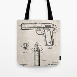 Colt Pistol Patent - Browning 1911 Colt Art - Antique Tote Bag