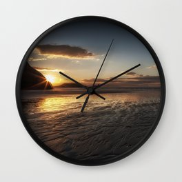 Sunset and wet sand at Worms Head Wall Clock