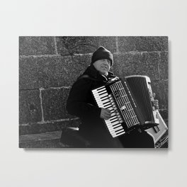 Accordion Busking on Howth Bay Metal Print