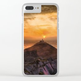 Sunrise at Mumbles lighthouse Clear iPhone Case