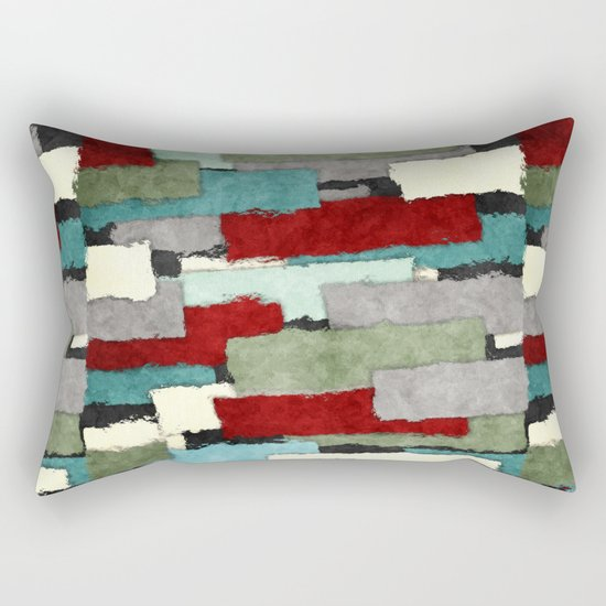 Colorful Patches Abstract Rectangular Pillow