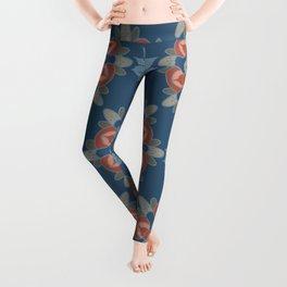 Large Flower Mandalas in Bold Indigo Blues Desert Reds Gray Leggings