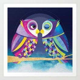 Shanti Sparrow: Bill & Judy the Owls Art Print
