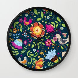 FLOWERS AND BIRDS Wall Clock