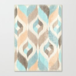 Soothing Waves Ikat Canvas Print