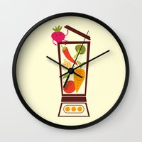 vegetable Wall Clocks featuring Vegetable smoothie by olillia