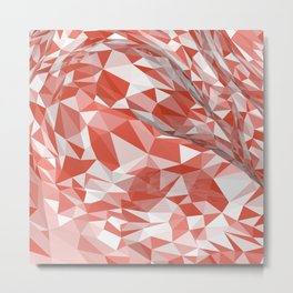 Abstract coral white modern geometrical triangles Metal Print