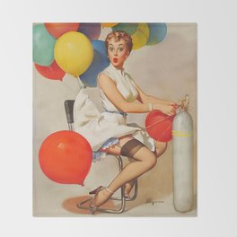 Vintage Pin Up Girl and Colorful Balloons Throw Blanket