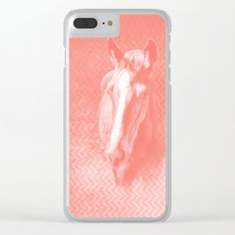 Abstract horse in misty peach Clear iPhone Case