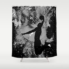 SLAM DUNK IN BLACK AND WHITE Shower Curtain