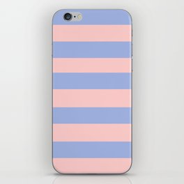 Light pink and blue stripes iPhone Skin