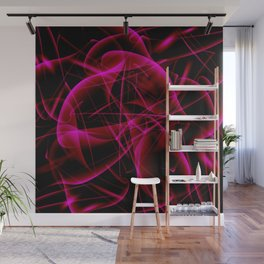 Glowing web of pink cosmic lines of energy and a mystical smoke screen on a black background. Wall Mural