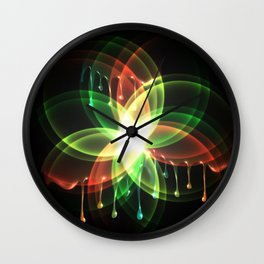 Colorful and shiny flower artwork with paint Wall Clock