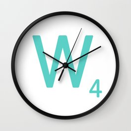 Aqua Letter W Scrabble Wall Art Wall Clock
