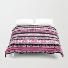 Black and pink striped pattern . Duvet Cover