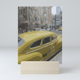 Old but gold - Vintage New York yellow taxi cab Mini Art Print