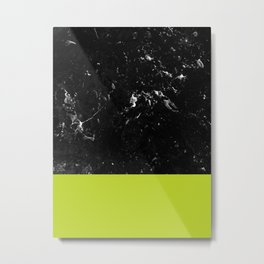 Lime Punch Meets Black Marble #1 #decor #art #society6 Metal Print