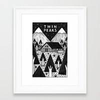 twin peaks Framed Art Prints featuring Twin Peaks by Ana Albero