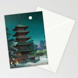 Japanese night scene Stationery Cards
