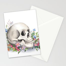 Skull Still Life With Wild Flowers Stationery Cards