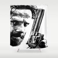 rick grimes Shower Curtains featuring Rick Walking Dead by TARA SCHLAYER