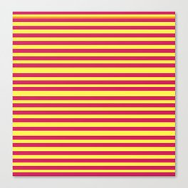 Stipes Yellow Pink Canvas Print
