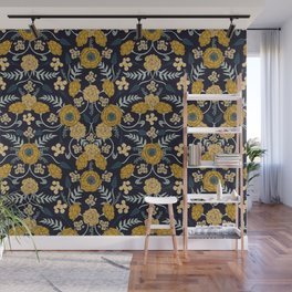 Navy Blue, Turquoise, Cream & Mustard Yellow Dark Floral Pattern Wall Mural