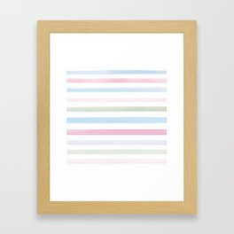 Watercolour stripes 02 Fresh summer day Framed Art Print