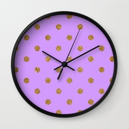 Bright Ube Gold Glitter Dot Pattern Wall Clock