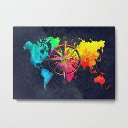 world map wind rose 9 #worldmap #map Metal Print