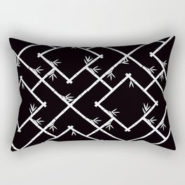 Bamboo Chinoiserie Lattice in Black + White Rectangular Pillow