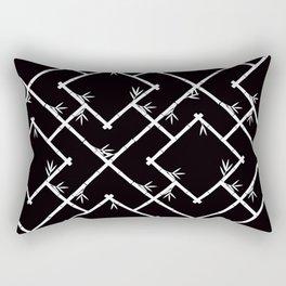 Bamboo Chinoiserie Lattice in Black + White Rectangular Pillow
