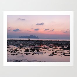 Crabbing at dawn Art Print
