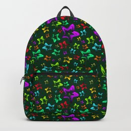 Pattern of cheerful children's shimmering stars on a green background. Backpack