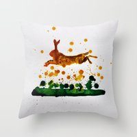 hare Throw Pillows featuring Hare by Condor