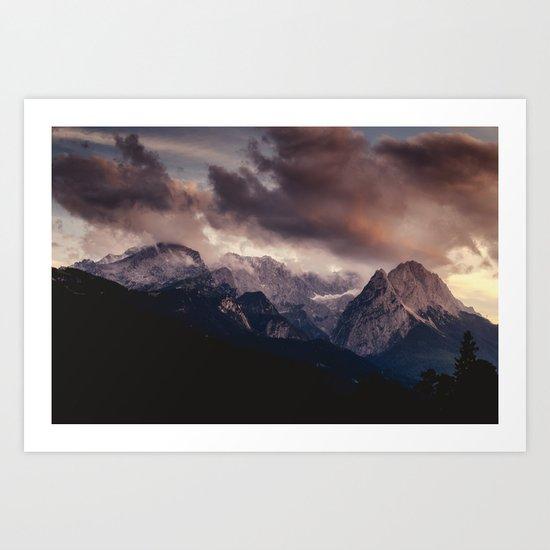 Cross Mountains #sunset Art Print