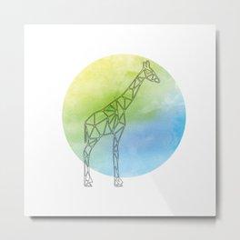 Geometric Giraffe In Thin Stipes On Circle Background Metal Print